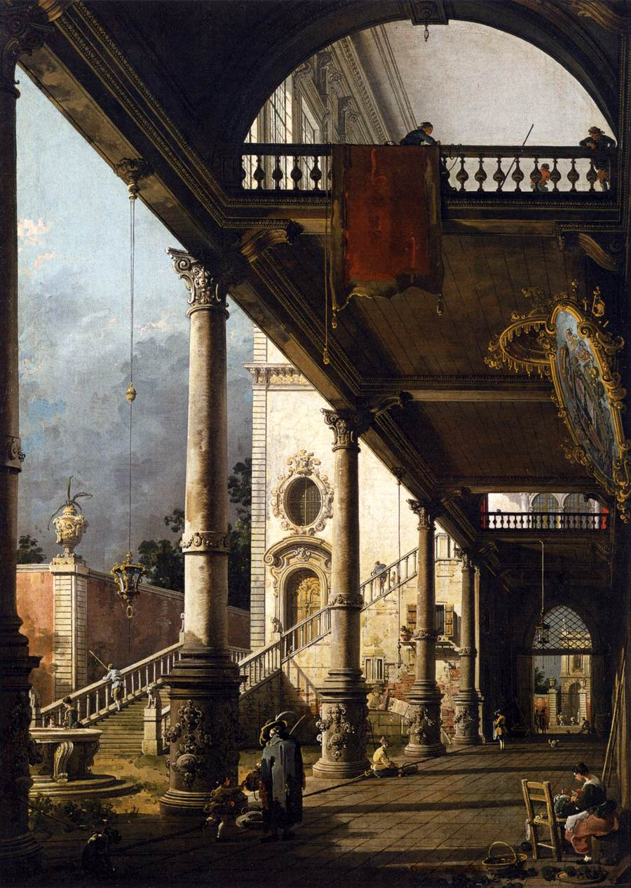 Perspective View with Portico by Canaletto
