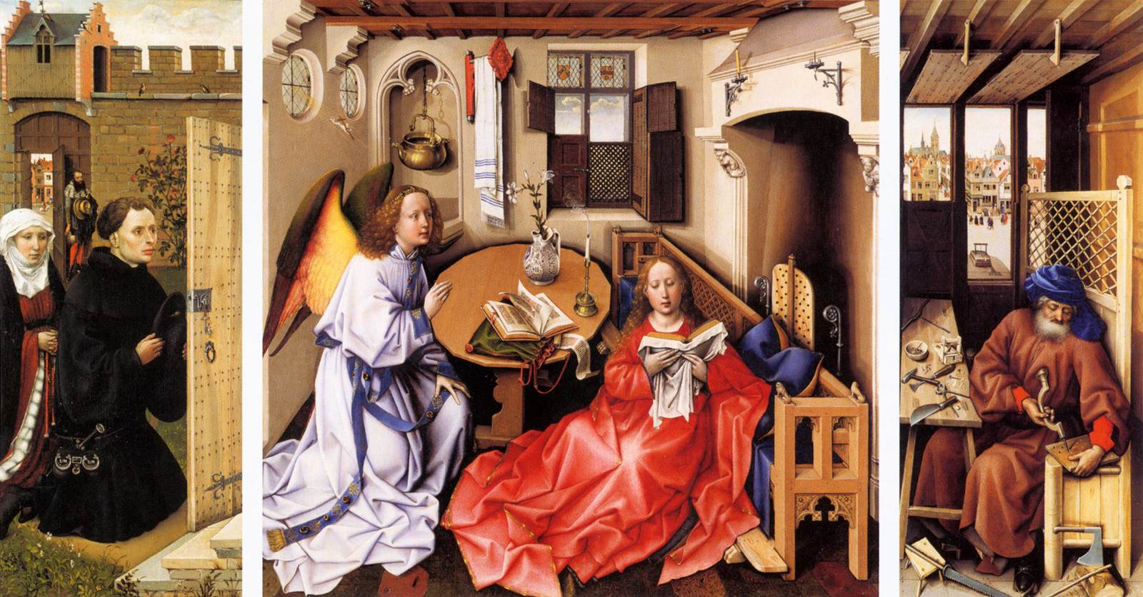 Annunciation Triptych (Merode Altarpiece) by Robert Campin