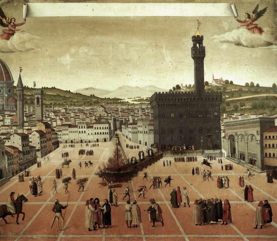 Execution of Savonarola on the Piazza della Signoria by Francesco Rosselli