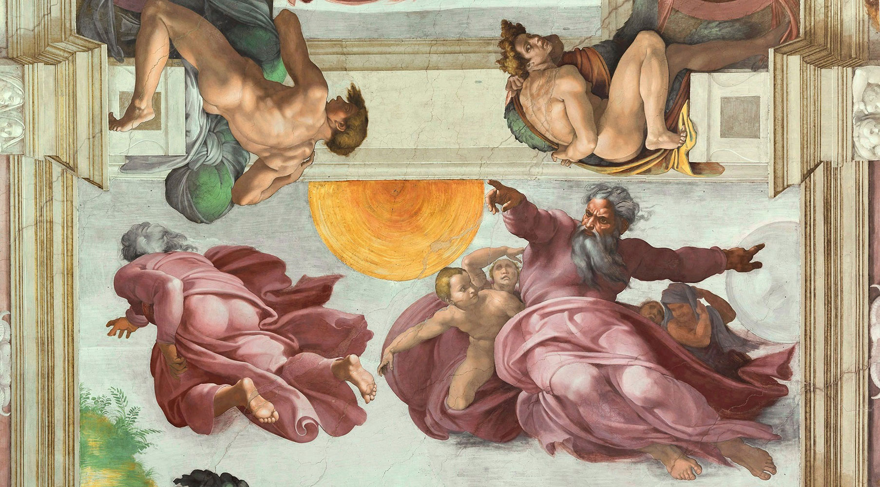 The Creation of the Sun and the Moon by Michelangelo
