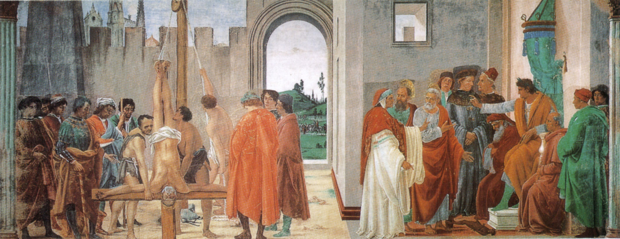 Disputation with Simon Magus and Crucifixion of St Peter by Filippo Lippi