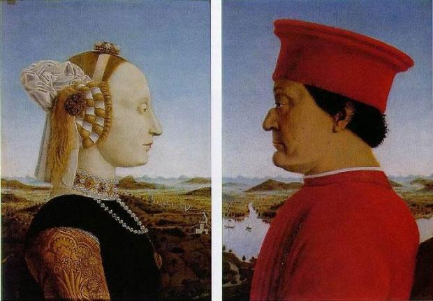 Portraits of the Duke and Duchess of Urbino (Federico da Montefeltro and Battista Sforza) by Piero della Francesca