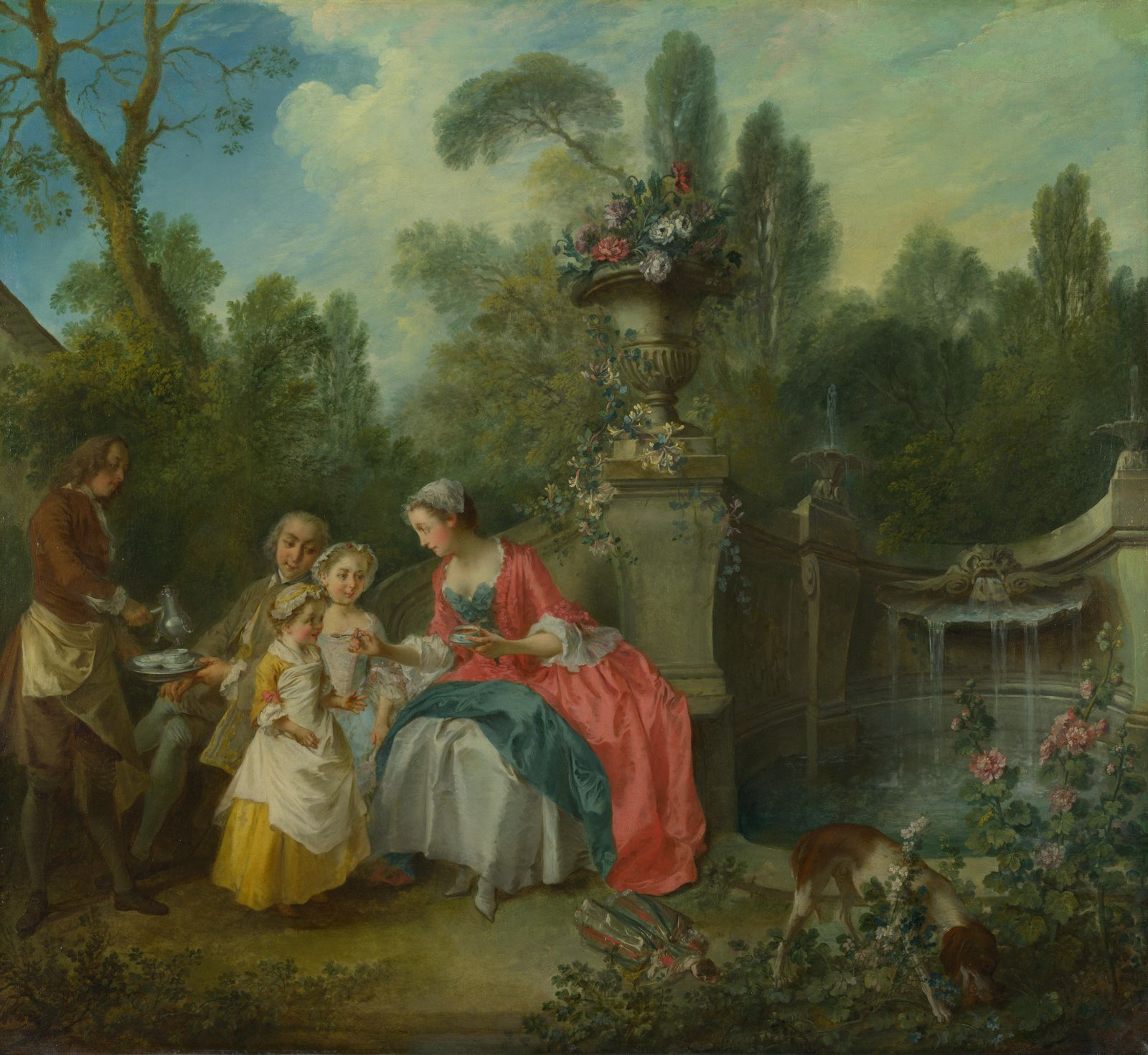 A Lady in a Garden taking Coffee with some Children by Nicolas Lancret