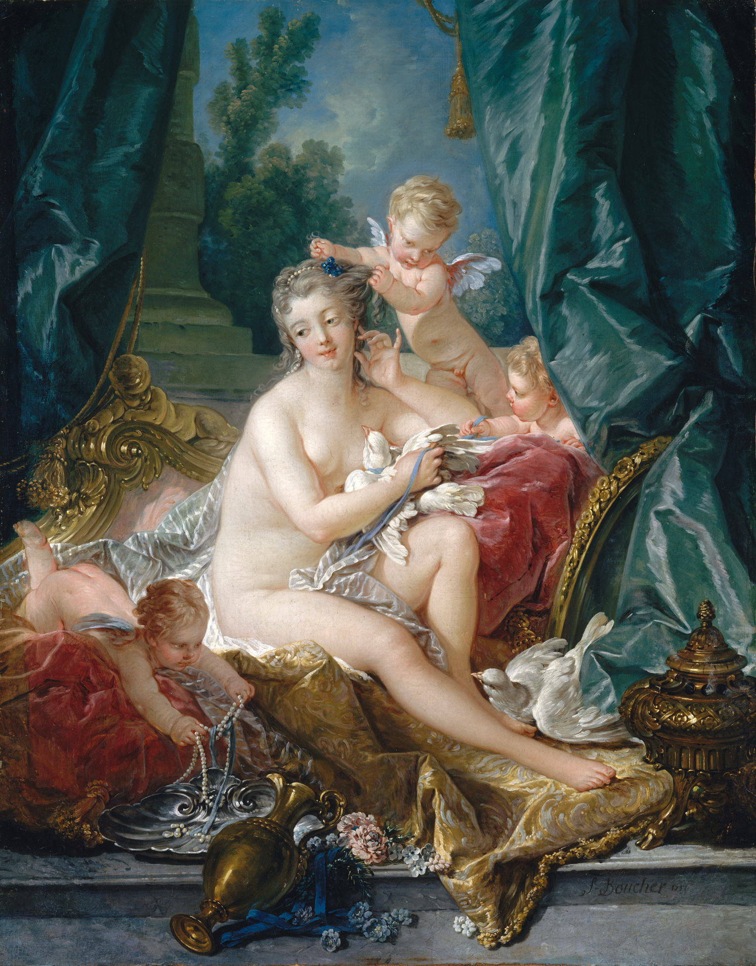 rococo art movement the toilette of venus by franccedilois boucher