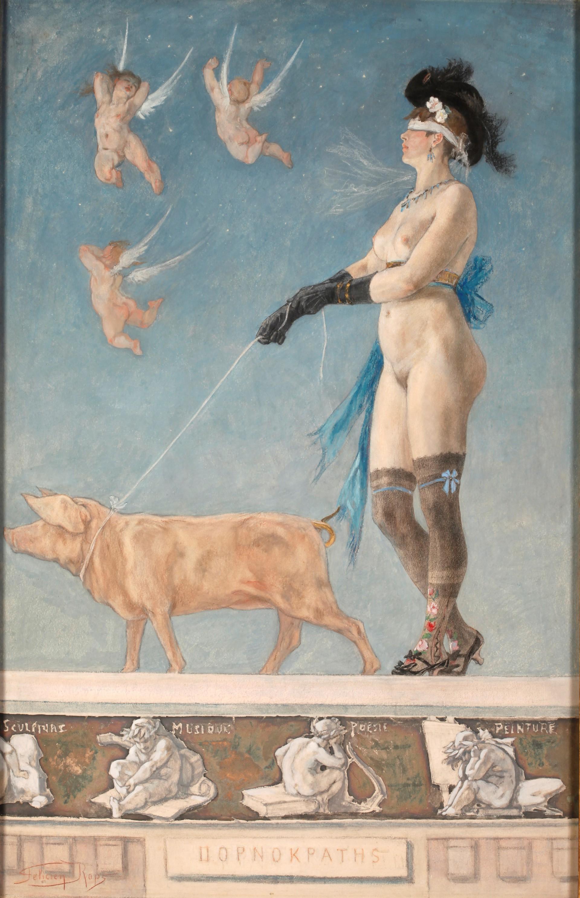 Félicien Rops - Pornocrates La dame au cochon - The Lady with the Pig
